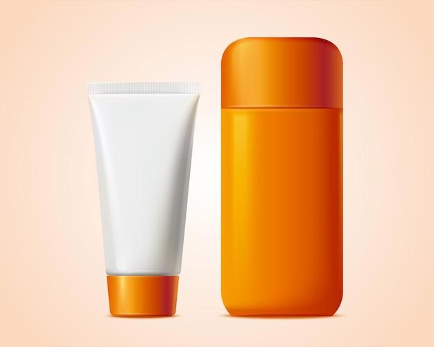 Frasco cosmético em branco e pacote de tubo na ilustração 3d