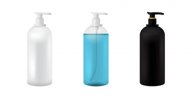 Frasco cosmético plástico. maquete de preto, branco e transparente isolado para sopa, shampoo, gel, spray, loção corporal, xampu. modelo de recipiente realista 3d. conjunto de maquete de embalagem médica clara.