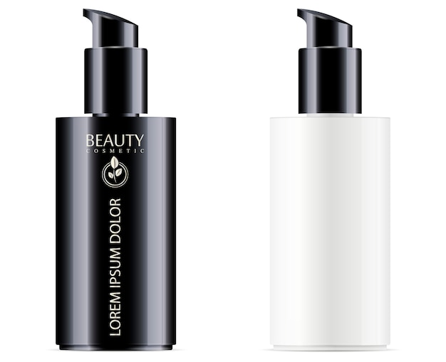 Frasco cosmético preto e branco com tampa do dispensador de bomba preta para hidratante e produtos líquidos faciais.