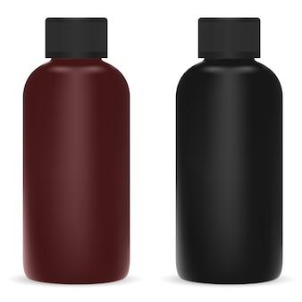 Frasco cosmético preto e marrom recipiente plástico para shampoo