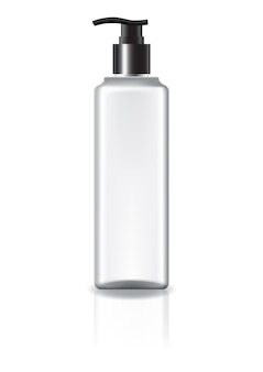 Frasco cosmético quadrado branco com cabeça de bomba.