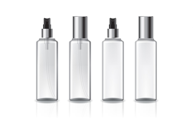Frasco cosmético quadrado branco e transparente com cabeça de spray prateada e tampa para produtos de beleza ou saudáveis. isolado no fundo branco com sombra de reflexão. pronto para usar no design de embalagens.