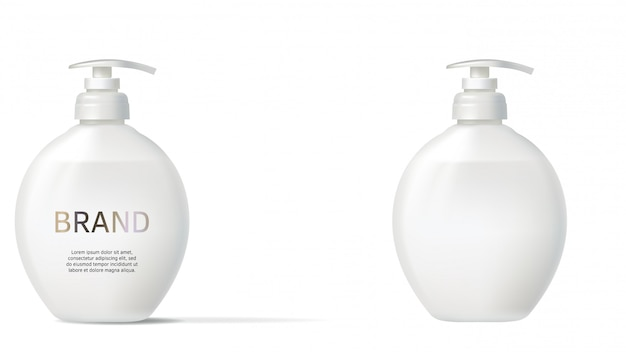 Frasco cosmético realista com redemoinho de leite
