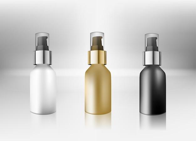 Frasco cosmético realista simulado conjunto conjunto isolado pacote no fundo branco.