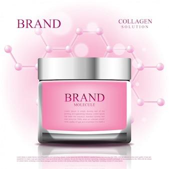 Frasco cosmético reduz o envelhecimento com a embalagem da molécula