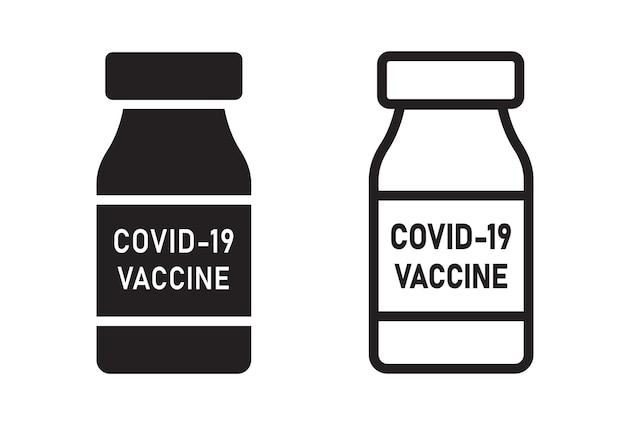 Frasco da vacina do coronavírus covid-19. ícones do vetor do frasco com vacina em dois estilos. ilustração
