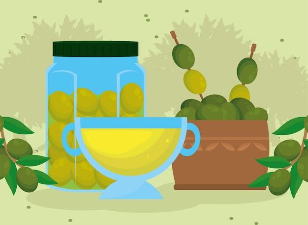 Frasco de azeite de oliva e produtos