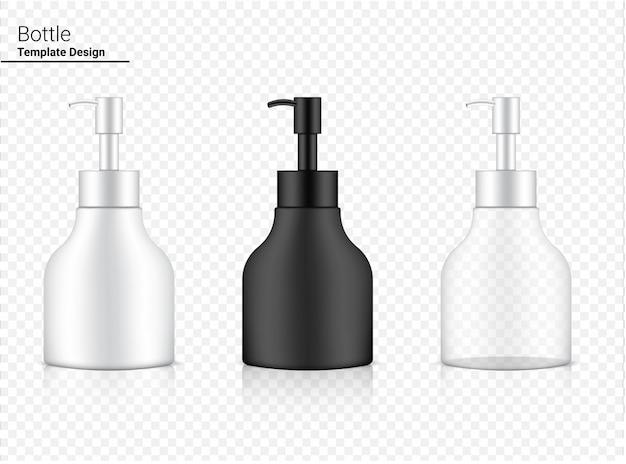 Frasco de bomba brilhante cosméticos realistas transparentes, brancos e pretos para clareamento de produtos para a pele e antienvelhecimento