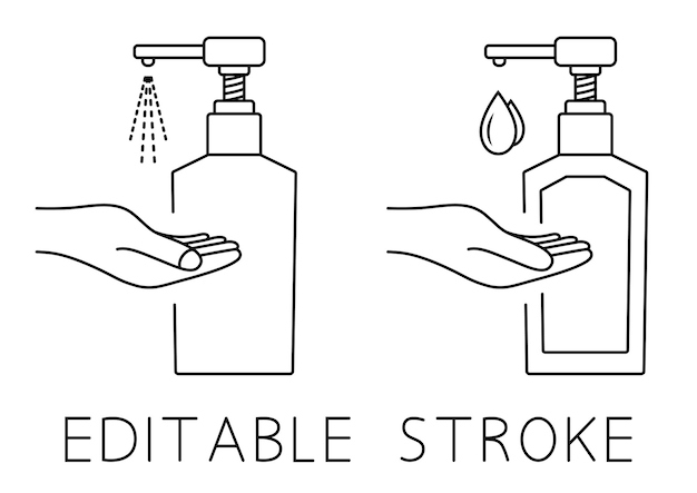 Frasco de bomba de desinfetante para as mãos frasco de gel de álcool desinfetante para as mãos para limpeza, desinfecção e washi