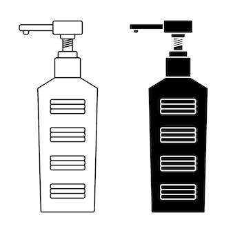 Frasco de bomba de desinfetante para as mãos símbolo de gel desinfetante e álcool anti-séptico de vetor