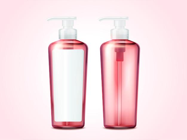Frasco de bomba em branco, recipientes de cosméticos rosa com rótulo