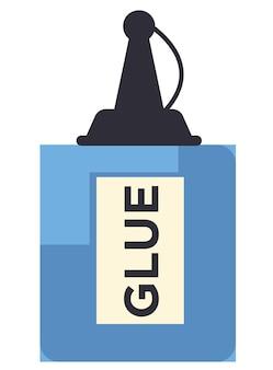 Frasco de cola com tampa, ícone isolado de peças de junção de líquido. material útil para itens artesanais, material escolar ou de escritório. objeto para oficina ou hobbies, produto com vetor de rótulo em plano