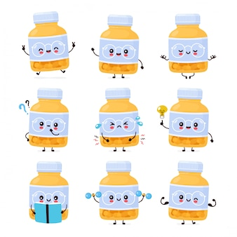 Frasco de comprimido engraçado feliz fofo. desenho animado personagem ilustração ícone do design. isolado no fundo branco