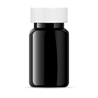 Frasco de comprimido. recipiente de plástico preto de vidro médico