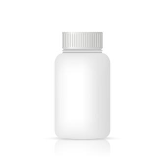 Frasco de comprimidos branco em branco recipiente de vitamina isolado maquete de vetor realista vazio
