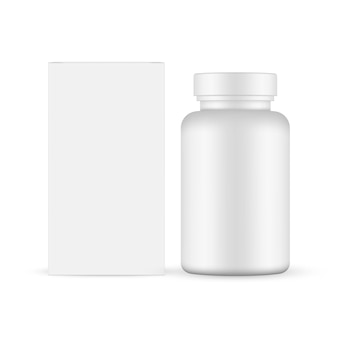 Frasco de comprimidos com maquete de caixa de papel isolado no fundo branco.