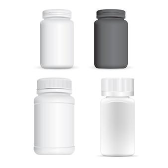 Frasco de comprimidos de plástico. frasco de suplemento branco, recipiente 3d em branco.