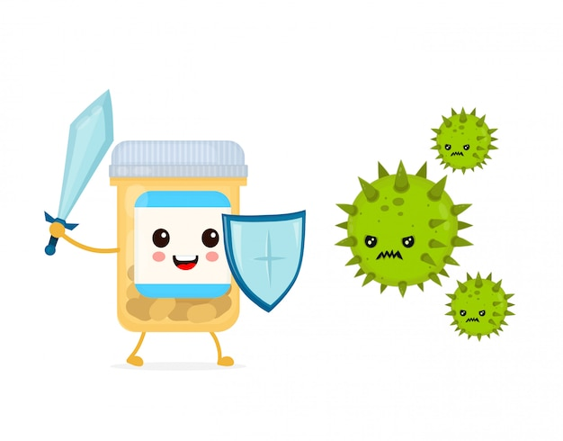 Frasco de comprimidos forte engraçado feliz bonito com espada e escudo luta com vírus de microorganismo de bactérias