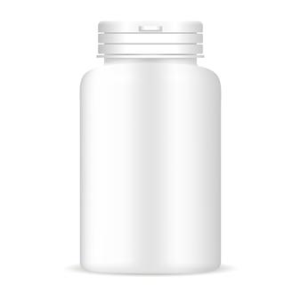 Frasco de comprimidos na cor branca. pacote de medicamentos