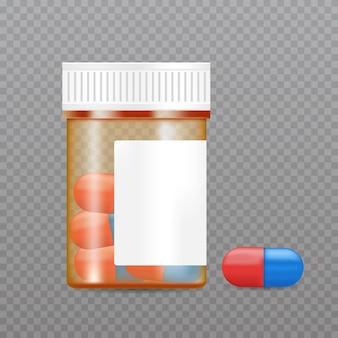Frasco de comprimidos realistas. maquete de embalagem de produto farmacêutico.