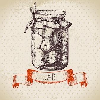 Frasco de conserva rústico com tomate. projeto do esboço desenhado mão vintage. ilustração vetorial