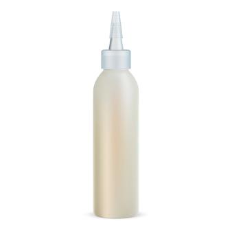 Frasco de conta-gotas de óleo de cabelo. frasco de tampa transparente realista