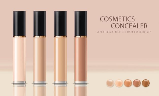 Frasco de corretivo realista, cosméticos maquiagem, corretivo de rosto pele corretiva, conjunto de maquete isolado de embalagens de cosméticos, ilustração