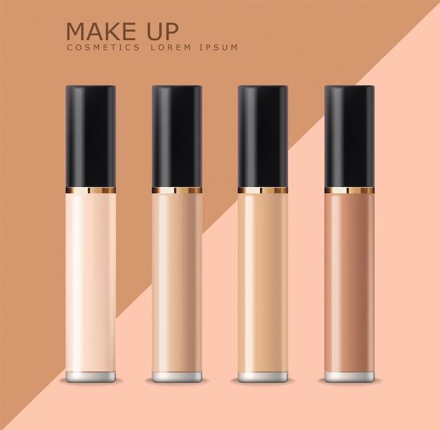 Frasco de corretivo realista, cosméticos maquiagem, corretivo de rosto pele corretiva, conjunto isolado de maquete de embalagens, ilustração