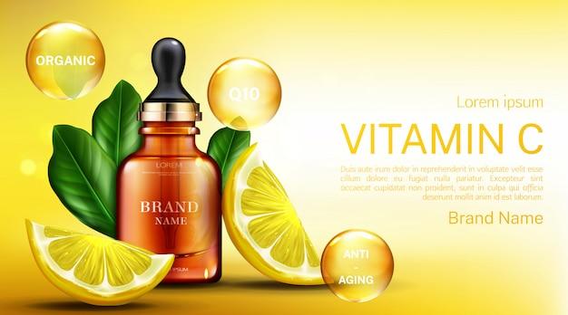 Frasco de cosméticos de vitamina c com pipeta