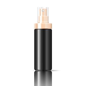 Frasco de cosméticos preto pode recipiente de pulverizador