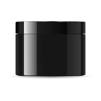 Frasco de creme cosmético de vidro preto lustroso redondo