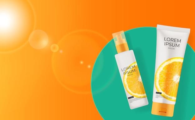 Frasco de creme de laranja com vitamina c 3d realista