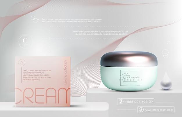 Frasco de creme de produtos cosméticos elegantes 3d para produtos de cuidados com a pele. creme facial de luxo. folheto de anúncios cosméticos ou banner design. modelo de creme cosmético azul. marca de produtos de maquiagem.
