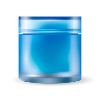 Frasco de creme de vidro azul isolado no fundo branco.
