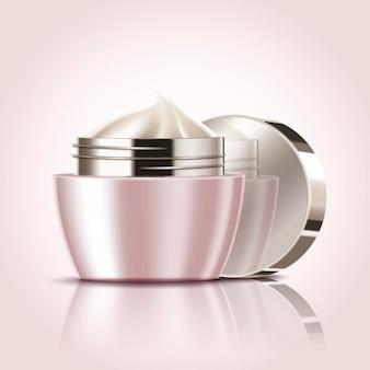 Frasco de creme em branco, maquete de recipiente cosmético em ilustração 3d