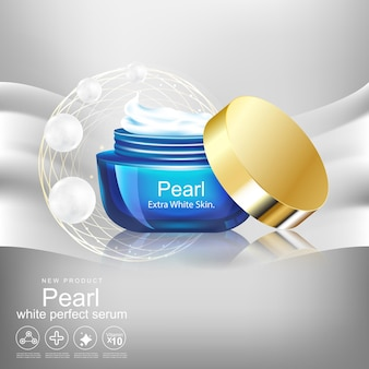 Frasco de creme para skincare product concept white pearl extract background.