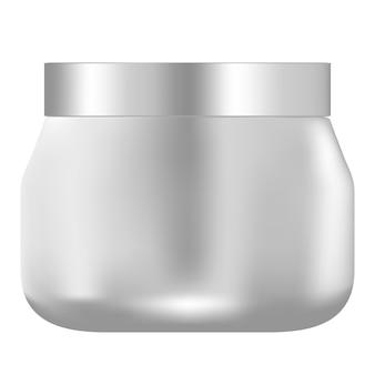 Frasco de creme plástico branco. embalagem 3d redonda