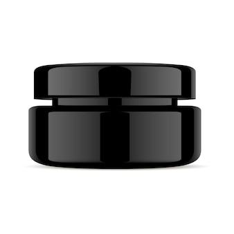 Frasco de creme preto. cosmético 3d de vidro plástico