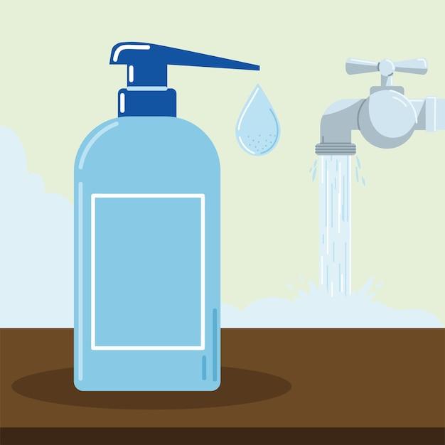 Frasco de desinfetante e água