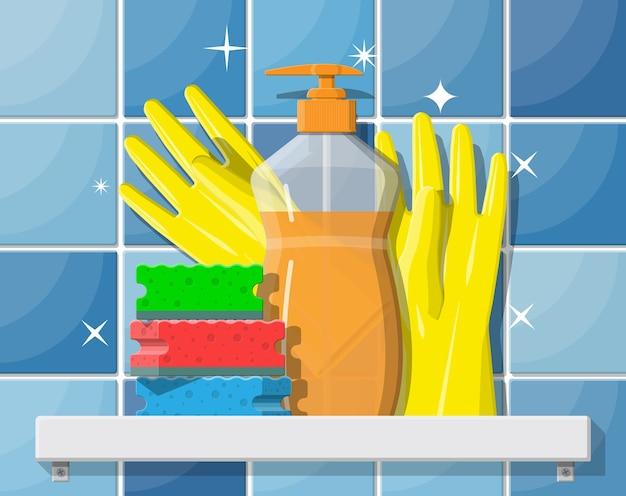 Frasco de detergente, esponja e luvas de borracha.
