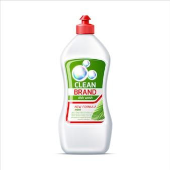 Frasco de detergente para lava-louças de marca realista