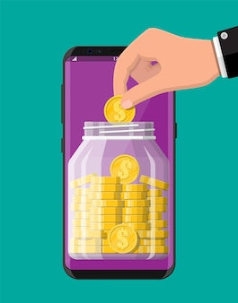 Frasco de dinheiro de vidro cheio de moedas de ouro na tela do smartphone. banco móvel, caixa de dinheiro. crescimento, renda, poupança, investimento. riqueza, sucesso empresarial .. Vetor Premium