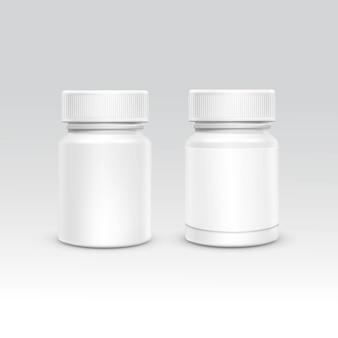 Frasco de embalagens de plástico em branco com tampa para comprimidos isolados