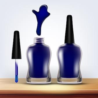 Frasco de esmalte azul cosméticos femininos