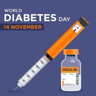Frasco de insulina para o dia mundial da diabetes caneta de insulina com seringa