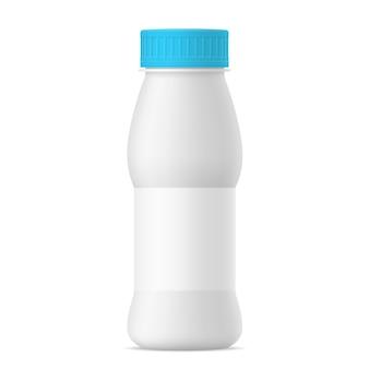 Frasco de iogurte realista branco vector esteira