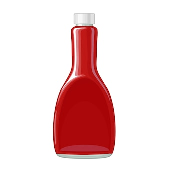 Frasco de ketchup. ilustração em vetor plana colorida isolada no fundo branco