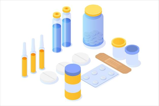 Frasco de medicamento, comprimidos, pílulas e ícone isométrico de pacote de bolha.