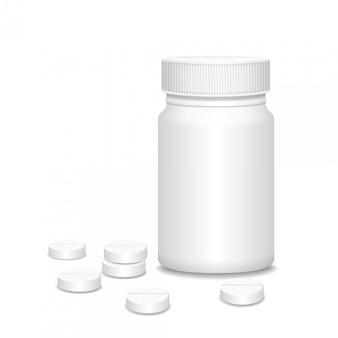 Frasco de medicamento em branco com pílulas