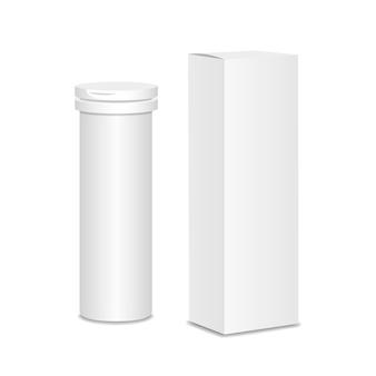 Frasco de medicamento em branco. embalagem de medicamentos com caixa de embalagem